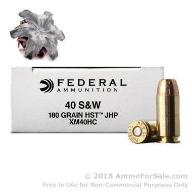 40 cal 180gr HST JHP Ammo by Federal