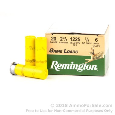 250 Rounds of 7/8 ounce #6 shot 20ga Ammo by Remington