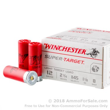 250 Rounds of 1 1/8 ounce #8 shot 12ga Ammo by Winchester