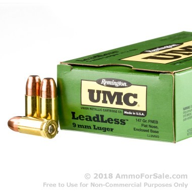 50 Rounds of 147gr FNEB 9mm Ammo by Remington