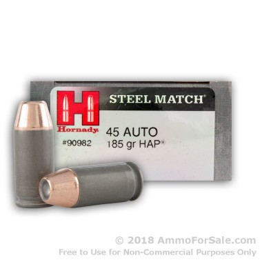 50 Rounds of 185gr JHP .45 ACP Ammo by Hornady