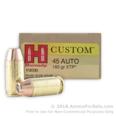 200 Rounds of 185gr JHP .45 ACP Ammo by Hornady