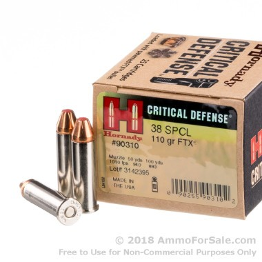 25 Rounds of 110gr JHP .38 Spl Ammo by Hornady