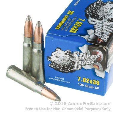 500  Rounds of 125gr SP 7.62x39mm Ammo by Silver Bear