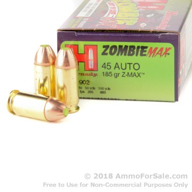 20 Rounds of 185gr Z-Max .45 ACP Ammo by Hornady