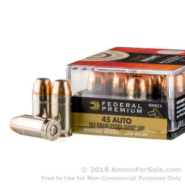 20 Rounds of 165gr JHP .45 ACP Ammo by Federal