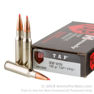 20 Rounds of 168gr TAP FPD .308 Win Ammo by Hornady