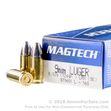 1000 Rounds of 124gr LRN 9mm Ammo by Magtech