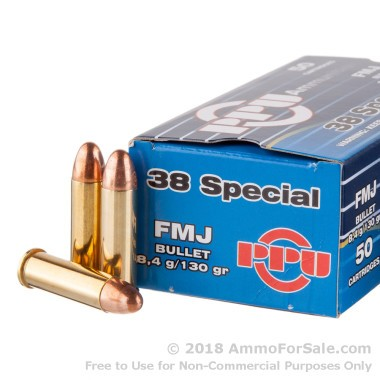 50 Rounds of 130gr FMJ .38 Spl Ammo by Prvi Partizan