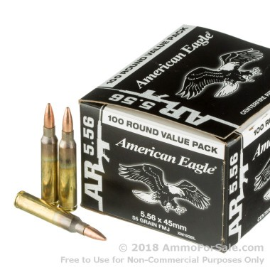 100 Rounds of 55gr FMJBT 5.56x45 Ammo by Federal