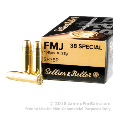 50 Rounds of 158gr FMJ .38 Spl Ammo by Sellier & Bellot
