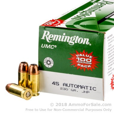 100 Rounds of 230gr JHP .45 ACP Ammo by Remington