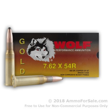 20 Rounds of 180gr SPBT 7.62x54r Ammo by Wolf