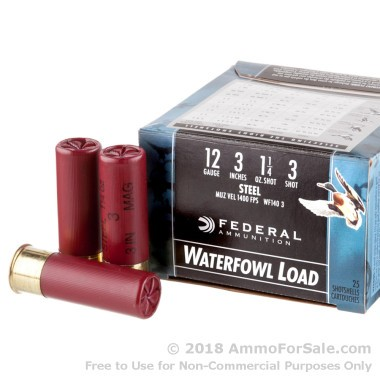 25 Rounds of 1 1/4 ounce #3 Shot (Steel) 12ga Ammo by Federal