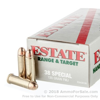50 Rounds of 130gr FMJ .38 Spl Ammo by Estate Cartridge
