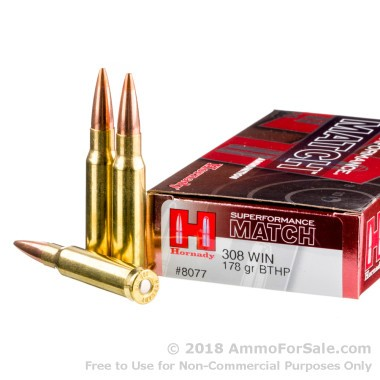 20 Rounds of 178gr HPBT .308 Win Ammo by Hornady