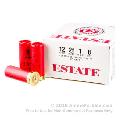 250 Rounds of 1 ounce #8 shot 12ga Ammo by Estate Cartridge