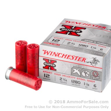 25 Rounds of 1 1/8 ounce #6 Shot (Steel) 12ga Ammo by Winchester