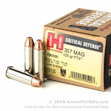 250 Rounds of 125gr JHP .357 Mag Ammo by Hornady