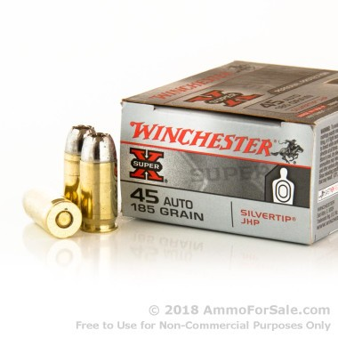 20 Rounds of 185gr JHP .45 ACP Ammo by Winchester