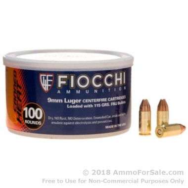 100 Rounds of 115gr FMJ 9mm Ammo by Fiocchi
