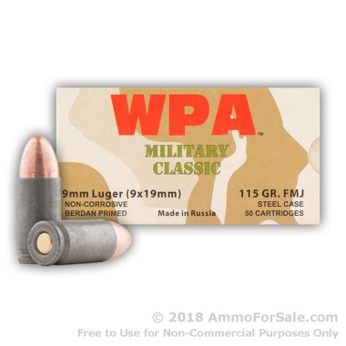 800 Rounds of 115gr FMJ 9mm Ammo by Wolf