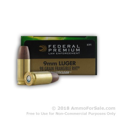 50 Rounds of 98gr Frangible 9mm Ammo by Federal