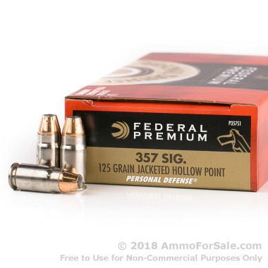 50 Rounds of 125gr JHP .357 SIG Ammo by Federal