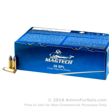 1000 Rounds of 158gr LRN .38 Spl Ammo by Magtech