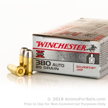 50 Rounds of 85gr JHP .380 ACP Ammo by Winchester