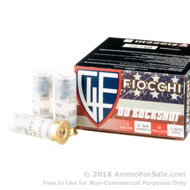250 Rounds of 9 Pellet 00 Buck 12ga Ammo by Fiocchi