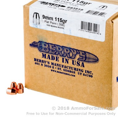 Bullets - 9mm - 115 Grain Plated FP - Berrys - 1000
