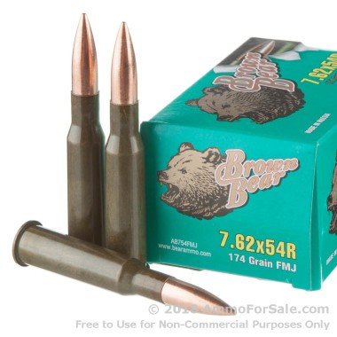 500  Rounds of 174gr FMJ 7.62x54r Ammo by Brown Bear