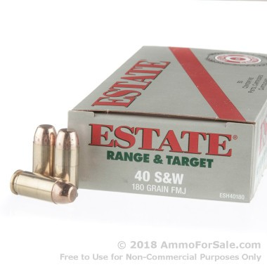 50 Rounds of 180gr FMJ .40 S&W Ammo by Estate Cartridge