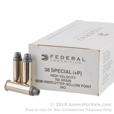 50 Rounds of 158gr LSWCHP .38 Spl + P Ammo by Magtech