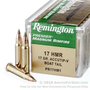 50 Rounds of 17gr Accutip .17HMR Ammo by Remington