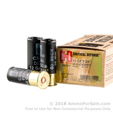 "10 Rounds of 2-3/4"" 00 Buck 12ga Ammo by Hornady Critical Defense"