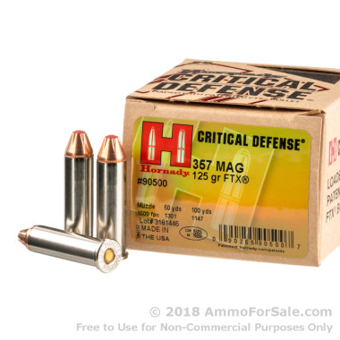 25 Rounds of 125gr JHP .357 Mag Ammo by Hornady