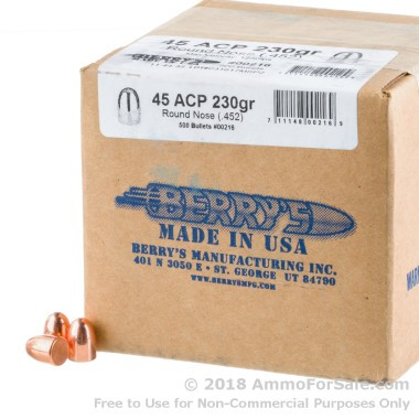 Bullets - 45 ACP - 230 gr Plated RN DS - Berrys - 500