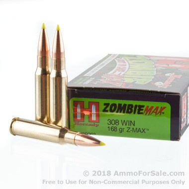 20 Rounds of 168gr Z-Max .308 Win Ammo by Hornady