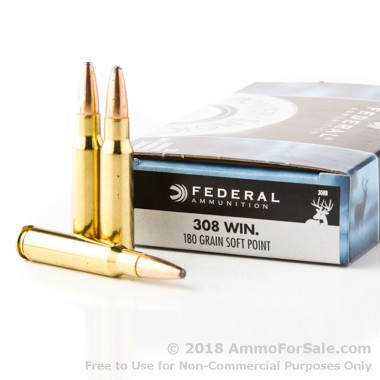 20 Rounds of 180gr SP .308 Win Ammo by Federal