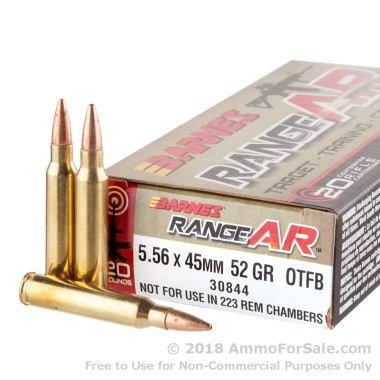 20 Rounds of 52gr OTM 5.56x45 Ammo by Barnes Range AR