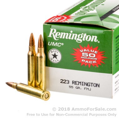 50 Rounds of 55gr MC .223 Ammo by Remington