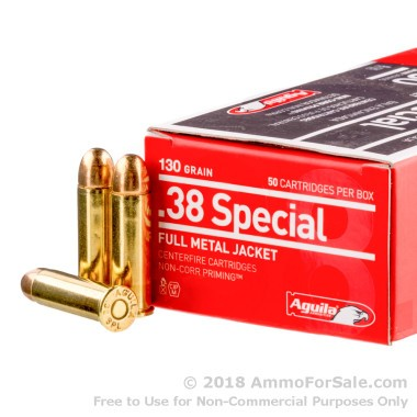 50 Rounds of 130gr FMJ .38 Spl Ammo by Aguila
