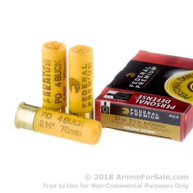 5 Rounds of  #4 Buck 20ga Ammo by Federal