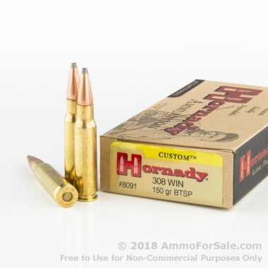 20 Rounds of 150gr SPBT .308 Win Ammo by Hornady