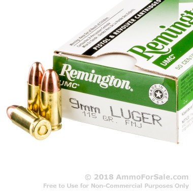 500  Rounds of 115gr MC 9mm Ammo by Remington