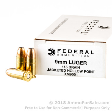 50 Rounds of 115gr JHP 9mm Ammo by Federal