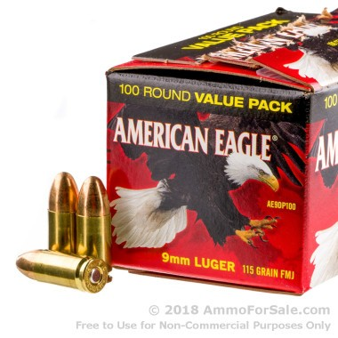100 Rounds of 115gr FMJ 9mm Ammo by Federal American Eagle