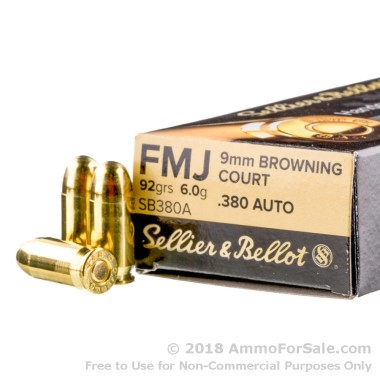 50 Rounds of 92gr FMJ .380 ACP Ammo by Sellier & Bellot